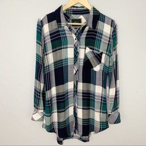 Rails rayon flannel plaid button down shirt XS